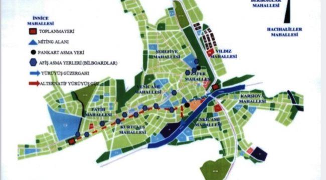2021 Yılı İlçemiz Dahilinde Toplantı ve Gösteri Yürüyüşleri Yer ve Güzergahı